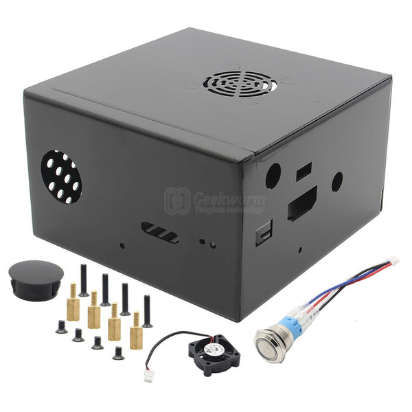 Raspberry Pi X850/X860/X870 Metal Case with Cooling Fan, Power Switch for X735 Board