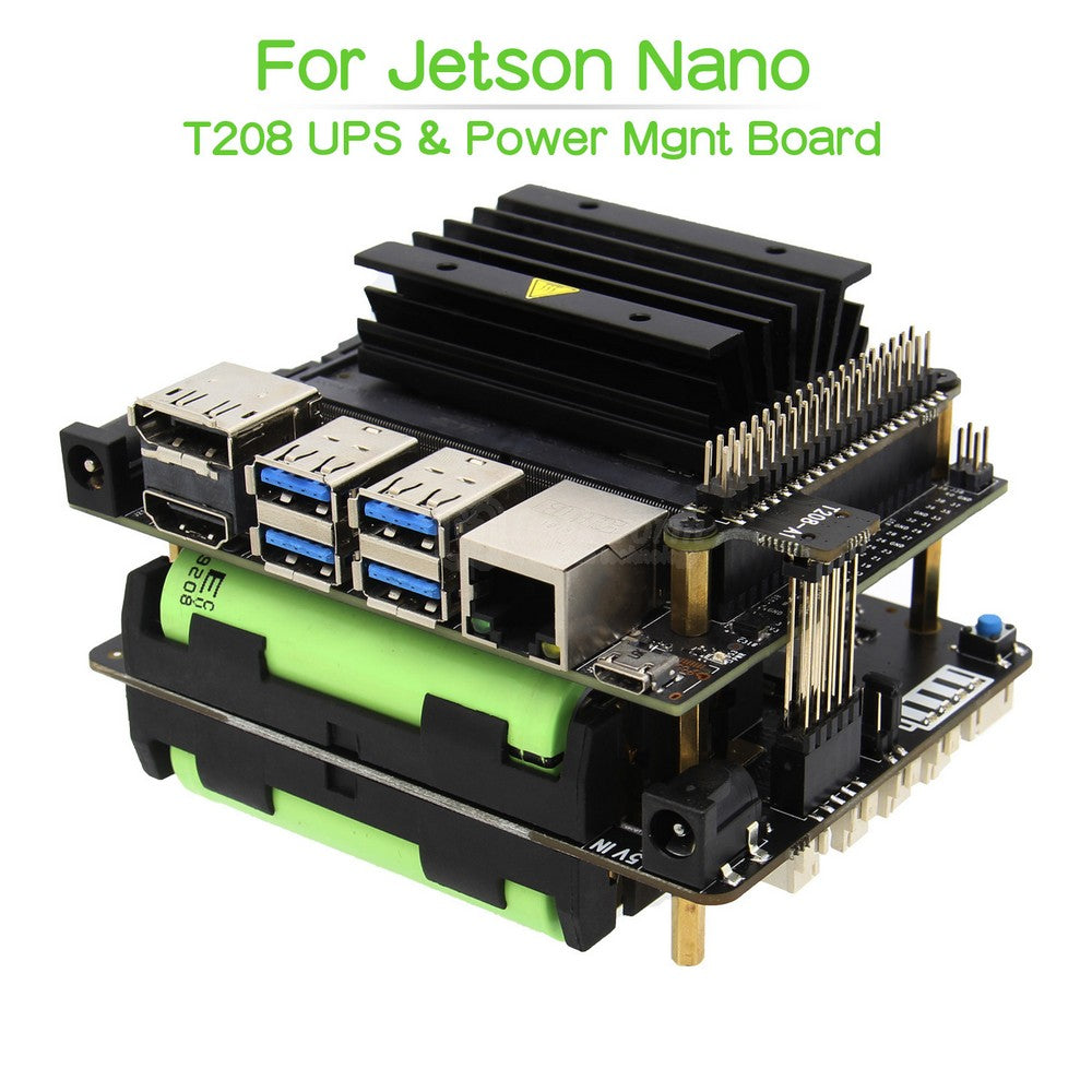 Geekworm T208 18650 UPS ( Max 5.1V 8A Output ) & Power Management Expansion Board for NVIDIA Jetson Nano