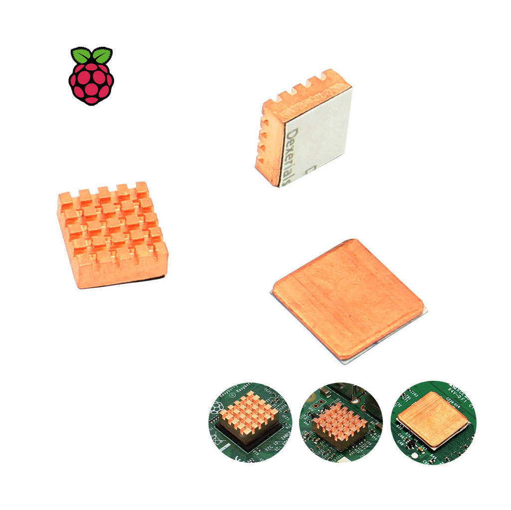 Raspberry Pi 3 Model B+/ 3B  2pcs Thick Copper heatsinks + 1pcs Thin Copper Heat Sinks Kit