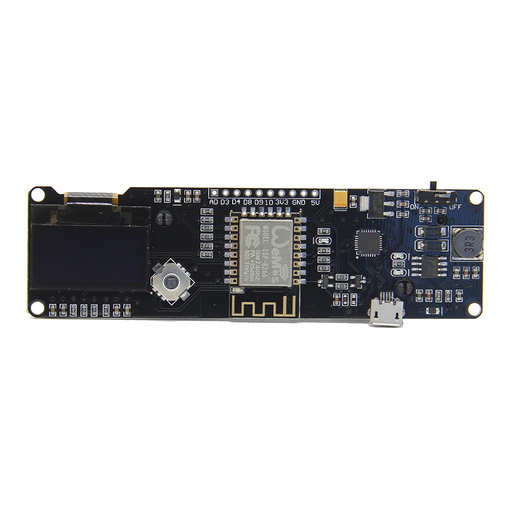 ESP8266 Chip ESP-WROOM-02 0.96 inch OLED Development Board Mini-WiFi NodeMCU Module with 18650 Battery Holder