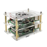 Raspberry Pi 4/3B+/3B Cluster Case with Fan Kit | 1- 5 layer Multi Layer Acrylic Case