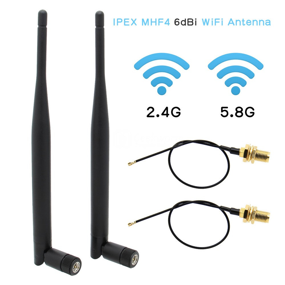 WiFi Antenna 6dBi IPEX MHF4 to RP SMA Female Extension Cable 2.4Ghz 5.8Ghz Dual Band for NVIDIA Jetson Xavier NX Developer Kit M.2 NGFF Card & N100