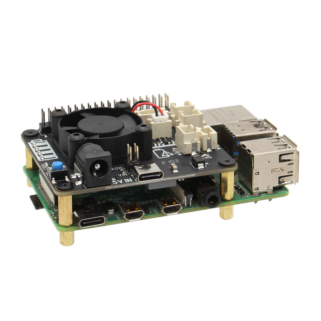Raspberry Pi 4B/3B+/3B X708 V1.2 UPS HAT & Power Management Board with Cooling Fan