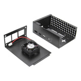 Raspberry Pi 4 Model B Protective Metal Case with Cooling Fan and 3PCS Aluminum Heatsinks Compatible with Raspberry Pi 4B Computer Only (P100)