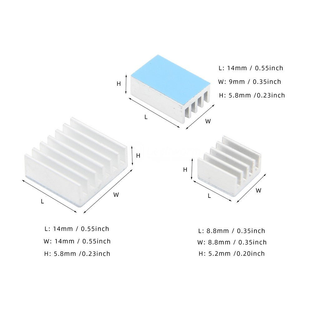 Raspberry Pi 4 Model B 3PCS Aluminum Heatsinks /Cooling Radiators for Raspberry Pi 4B Computer