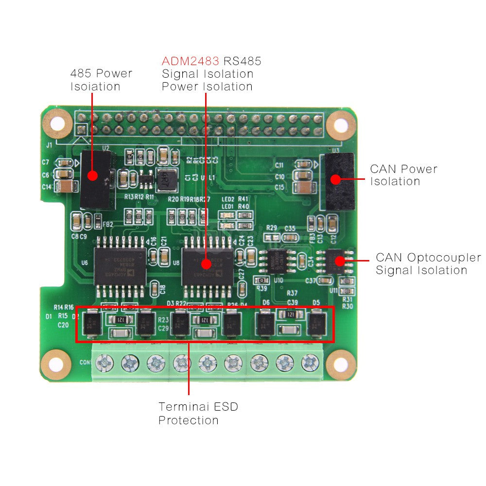 RS485 and CAN Industrial Communication Module for Raspberry Pi 4 Model  B/3B+/3B/2B/Zero/Zero W