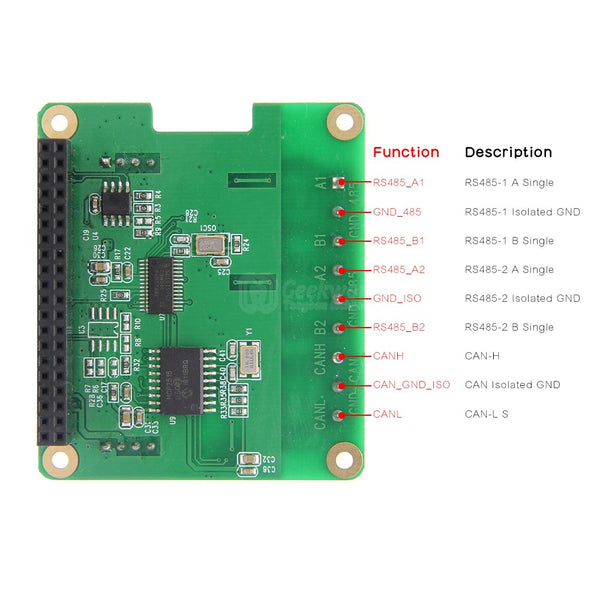RS485 and CAN Industrial Communication Module for Raspberry