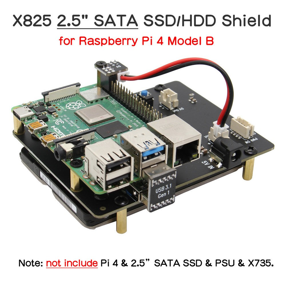 Raspberry Pi 4 Model B 2.5 inch SATA HDD/SSD Expansion Board X825 V1.5 USB3.0 Shield Compatible with Raspberry Pi 4B Only