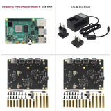 "Raspberry Pi 4 Model B+2Pcs X828 2.5"" SATA HDD/SSD Cluster Storage Expansion Board+DC 5V 4A Power Supply Kit"