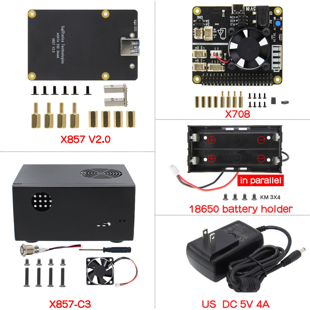 For Raspberry Pi 4, X857 V2.0 mSATA SSD Shield+X857-C3 Case+X708 UPS&Power Mgnt Board+DC 5V 4A Power Supply Kit