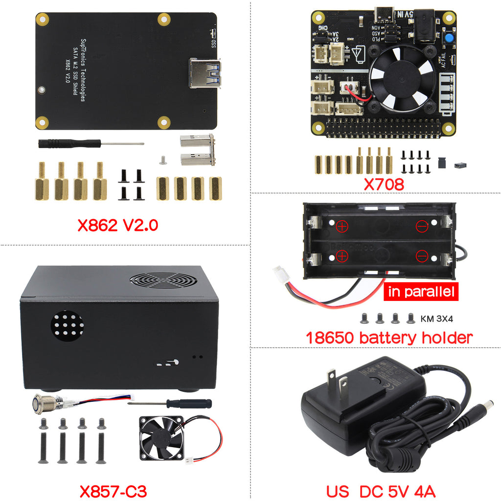 For Raspberry Pi 4, X862 V2.0 M.2 NGFF SATA SSD Shield+X857-C3 Case+X708 UPS&Power Mgnt Board+DC 5V 4A Power Supply Kit