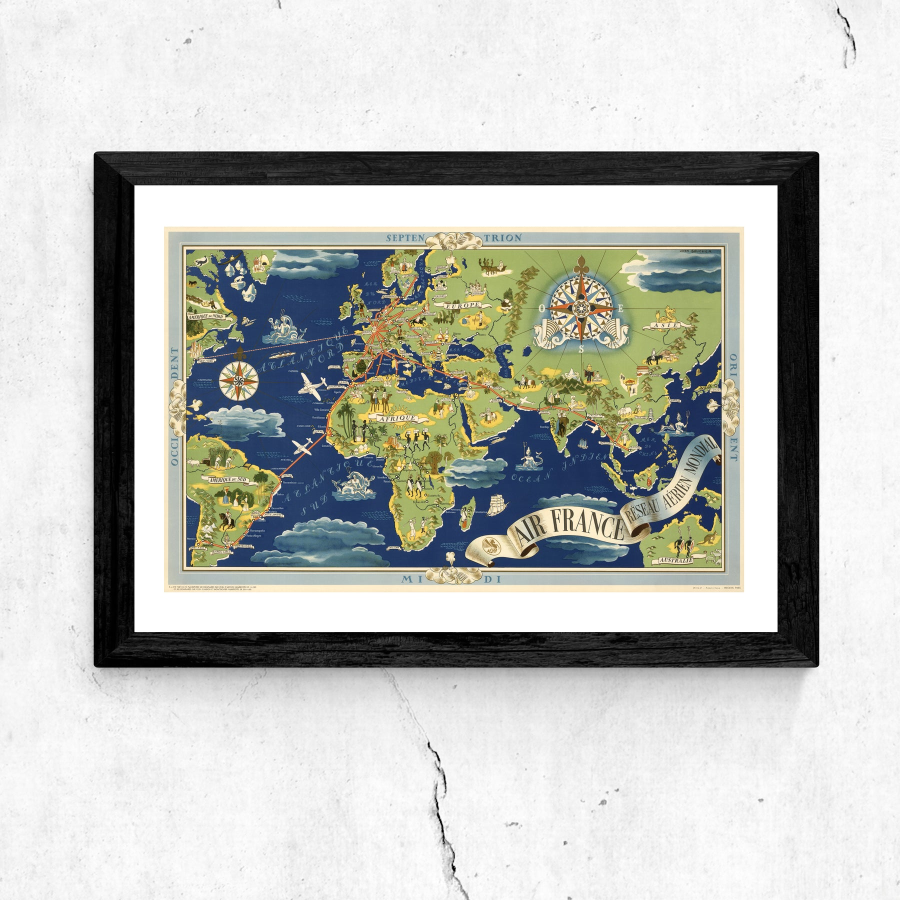 Map Of France 1800.Air France World Map Art Print