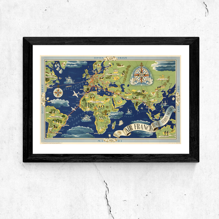 Art print of vintage map. Browse our online art print store or visit our art print shop in Temple Bar, Dublin.