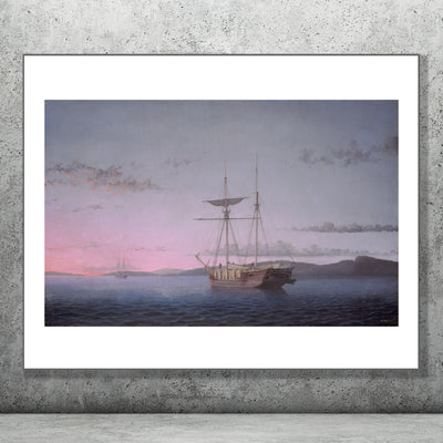 Art print of Lumber Schooners at Evening by Fitz Henry Lane.