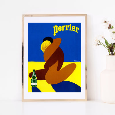 Art print of vintage poster Perrier by French graphic artist Bernard Villemot. Browse our online art print store or visit our art prints shop in Temple Bar, Dublin.