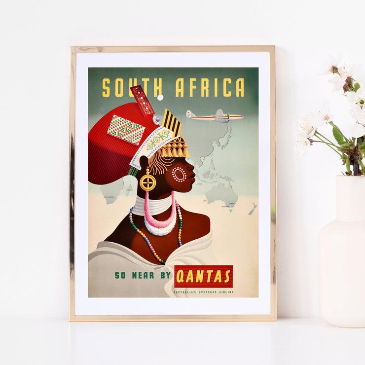 Art print of vintage poster South Africa. Browse our online art print store or visit our art print shop in Temple Bar, Dublin.