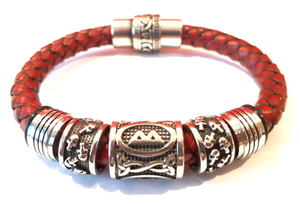 Bracelet VIKING Rhune Skull Rouge Antique