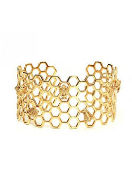 Honeycomb and Bee Cuff in Gold