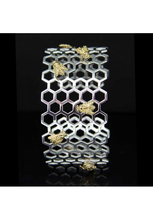 Load image into Gallery viewer, Honeycomb and Bee Cuff