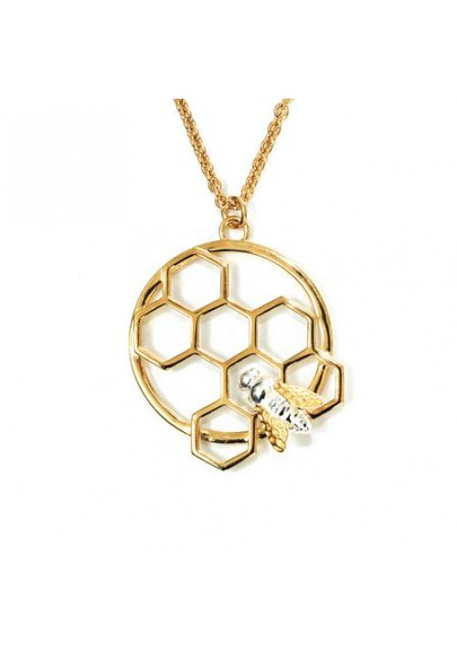 Honeycomb and Bee Pendant