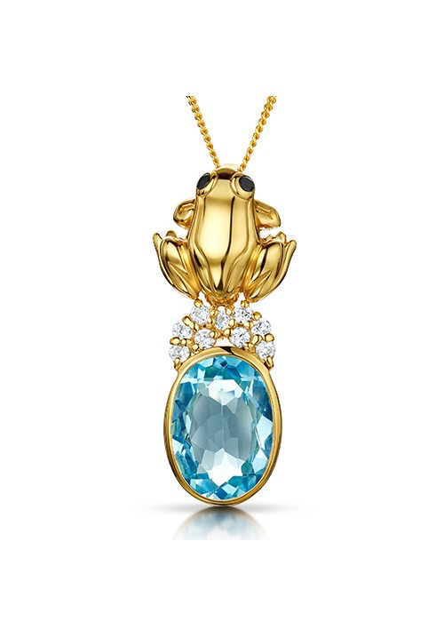 Gold Pond Frog and Blue Topaz Necklace