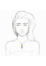 Load image into Gallery viewer, Gold Frog and Blue Topaz Necklace