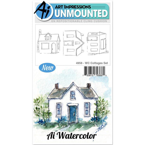 Watercolor Cottages Cling Rubber Stamps