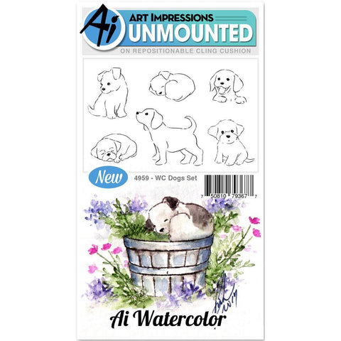 Watercolor Dogs Cling Rubber Stamps