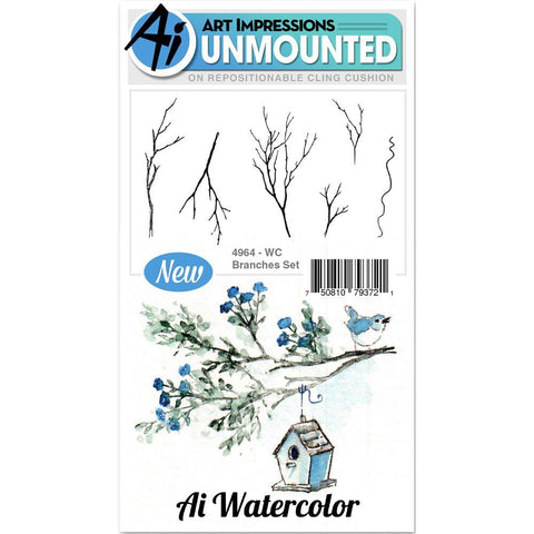 Watercolor Branches Cling Rubber Stamps