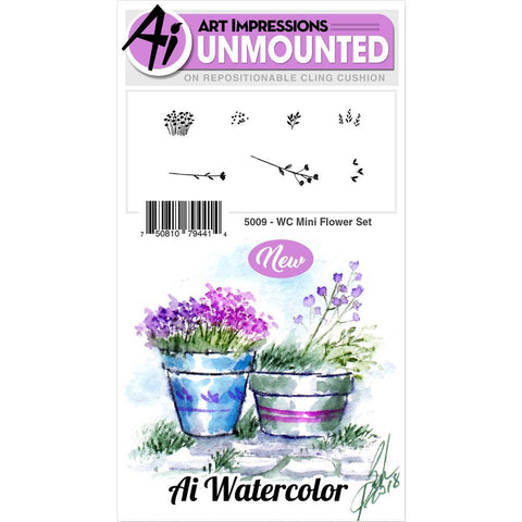 Watercolor Mini Flower Set Cling Rubber Stamps