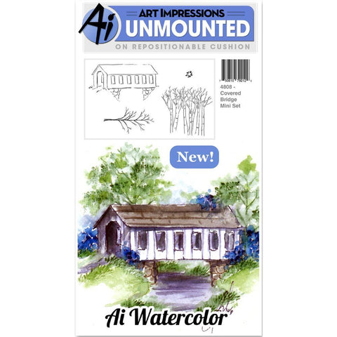 Watercolor Covered Bridge Cling Rubber Stamps