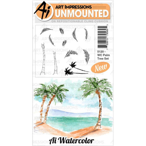 Watercolor Palm Tree Cling Rubber Stamps