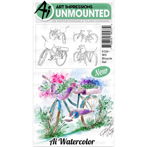 Watercolor Bicycle Cling Rubber Stamps