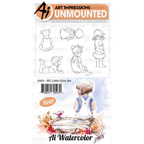 Watercolor Little Girls Cling Rubber Stamps