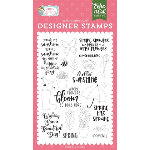 I Love Spring 4x6 Clear Stamp Set: Spring Showers