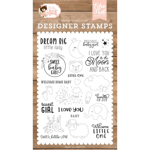 Baby Girl Dream Big Little Lady Clear Stamps
