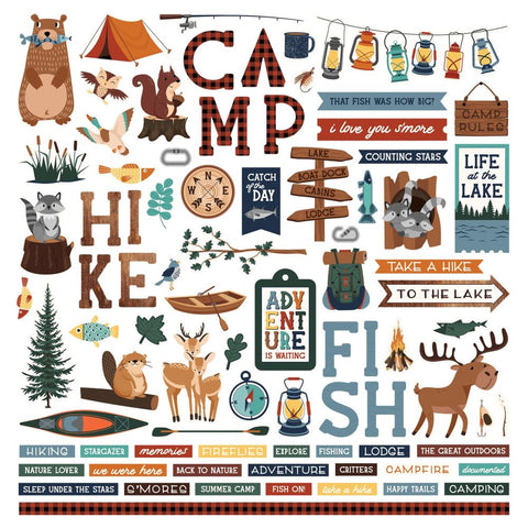 Camp Happy Bear 12x12 Sticker Sheet