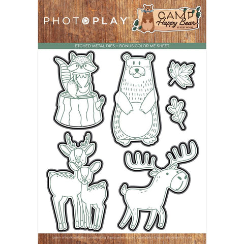 Camp Happy Bear Etched Dies