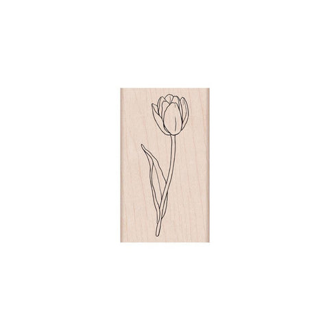 Single Tulip Rubber Stamp