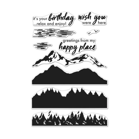 Color Layering Mountains at the Lake 4x6 Clear Stamps