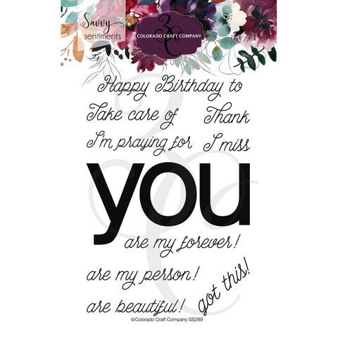 Savvy Sentiments You Greetings 4x6 Clear Stamps