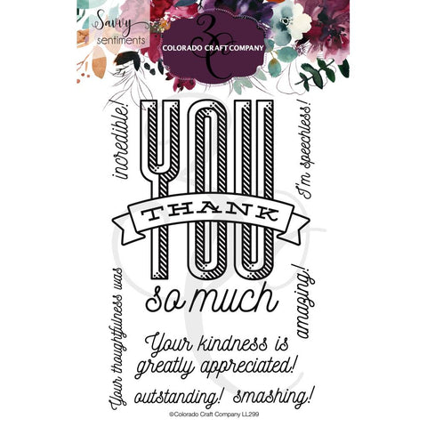 Savvy Sentiments 4x6 Clear Stamp Set: Thank You