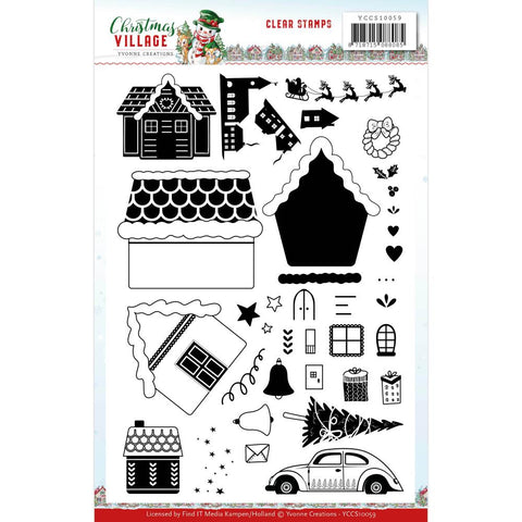 Yvonne Creations Christmas Village Clear Stamp Set