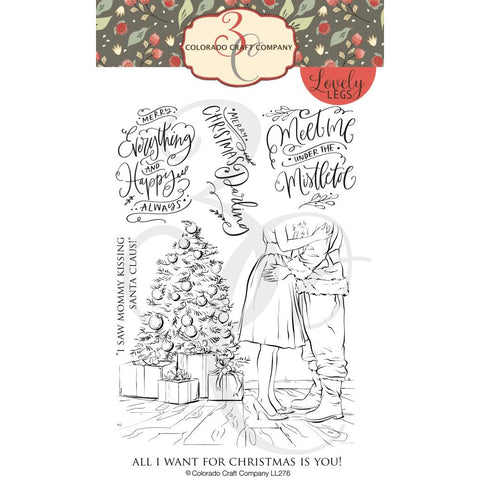Lovely Legs Mommy Kissing Santa 4x6 Clear Stamps