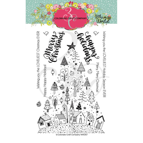 Whimsy World Christmas Town Tree 4x6 Clear Stamps