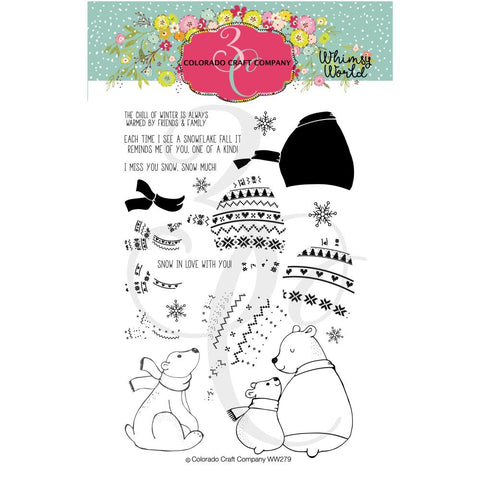 Whimsy World Layering Sweater Bears 4x6 Clear Stamps
