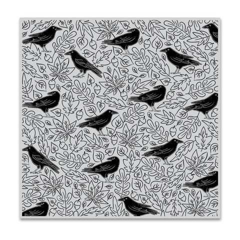 Crows & Autumn Leaves Bold Prints 6x6 Cling Stamps