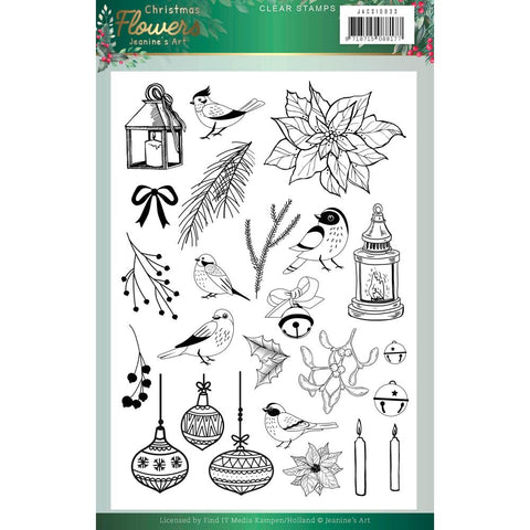 Jeanine's Art Christmas Flowers Clear Stamp Set