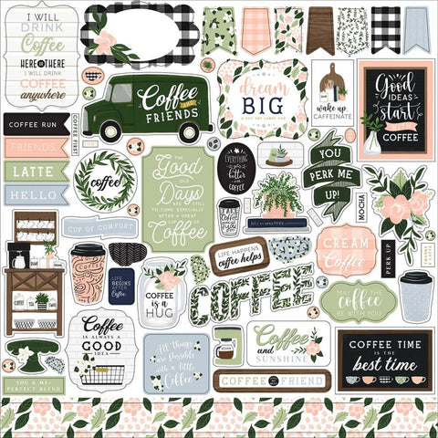 Coffee and Friends 12x12 Sticker Sheet