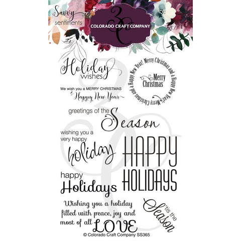 Savvy Sentiments 4x6 Clear Stamp Set: Holiday Wishes